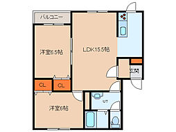 北海道函館市昭和4丁目の賃貸アパートの間取り