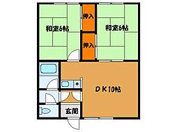 北海道北斗市追分4丁目の賃貸アパートの間取り