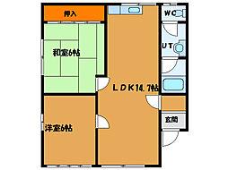 北海道函館市東山3丁目の賃貸アパートの間取り