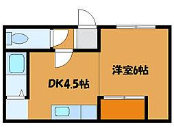 北海道函館市大川町の賃貸アパートの間取り