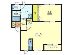 北海道北斗市七重浜1丁目の賃貸アパートの間取り