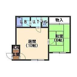 北海道函館市昭和1丁目の賃貸アパートの間取り
