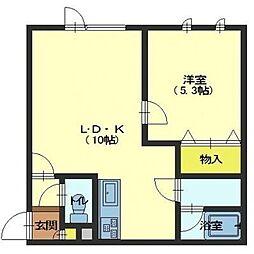 北海道函館市杉並町の賃貸アパートの間取り