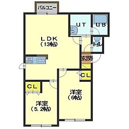 北海道函館市桔梗1丁目の賃貸アパートの間取り