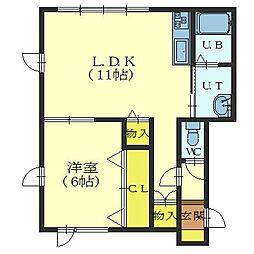 北海道函館市桔梗町の賃貸アパートの間取り