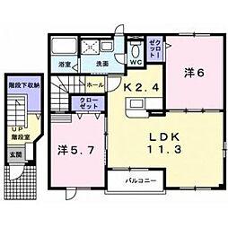 北海道函館市石川町の賃貸アパートの間取り
