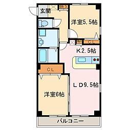 フォブール八幡[1階]の間取り