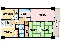 サーパス中須賀[14階]の間取り