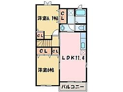 ベル・ヴィオラKⅢ[2階]の間取り