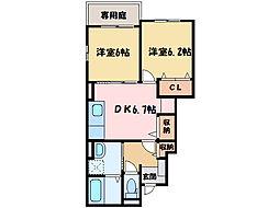 クレメントA・B[1階]の間取り