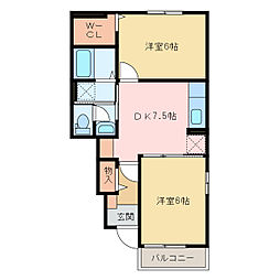国領1丁目アパート A・B[A106号室]の間取り