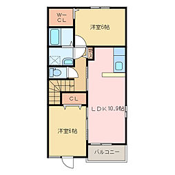 国領1丁目アパート A・B[B202号室]の間取り