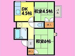 滋賀県大津市晴嵐1丁目の賃貸アパートの間取り