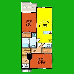滋賀県大津市富士見台の賃貸アパートの間取り