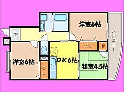 滋賀県大津市石山寺3丁目の賃貸マンションの間取り