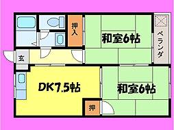 滋賀県大津市神領2丁目の賃貸アパートの間取り