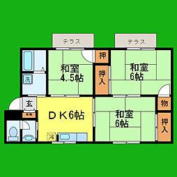 滋賀県大津市大萱3丁目の賃貸アパートの間取り