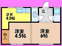 滋賀県大津市国分2丁目の賃貸アパートの間取り