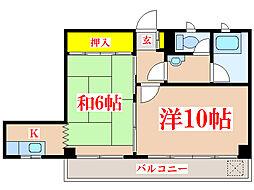 コーポ田中 [2階]の間取り