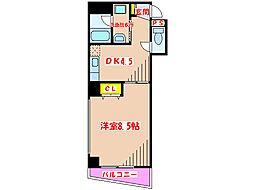 K・BLD 2階1DKの間取り
