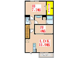 ルーチェ・アモンA棟[2階]の間取り