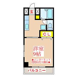 リバーロードマンション 2階1Kの間取り