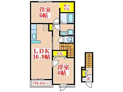 ルカン・バレーヌ[2階]の間取り