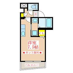 パラディーゾ柳町 3階ワンルームの間取り