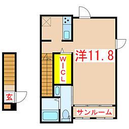 バス 紫原七丁目下車 徒歩4分の賃貸アパート 2階1Kの間取り