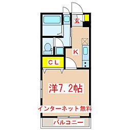 リーベンパレス下荒田II 3階1Kの間取り