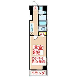 鹿児島市電1系統 新屋敷駅 徒歩8分の賃貸マンション 7階1Kの間取り
