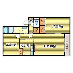 フィールドハウスC[2階]の間取り