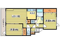 北海道札幌市東区北三十七条東19丁目の賃貸マンションの間取り