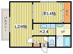 Calore栄町[2階]の間取り