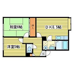 栄ヶ丘ハイツA棟[2階]の間取り