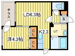 ラルコバレーノN16[1階]の間取り