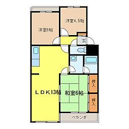 愛知県半田市白山町4丁目の賃貸マンションの間取り