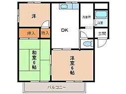 コンフォート和泉[B201号室]の間取り