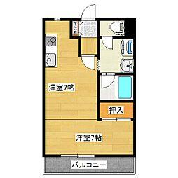 コーポカワハラ 2階1DKの間取り