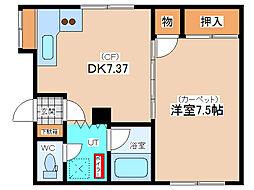エスポアールマンション 1階1DKの間取り