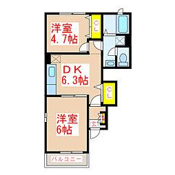 鹿児島県霧島市国分新町の賃貸アパートの間取り