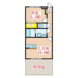 ウェルビュー桜 1階1LDKの間取り
