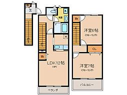 コーポ勢多II番館[1階]の間取り