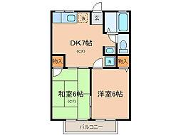ハイツカアムA・B[2階]の間取り