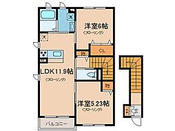 MESIA瀬田III[2階]の間取り