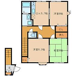 静岡県浜松市北区初生町の賃貸アパートの間取り