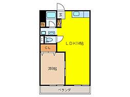 シャトー桐野[4階]の間取り
