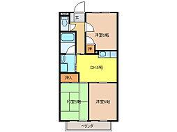 愛知県江南市中奈良町本郷の賃貸アパートの間取り