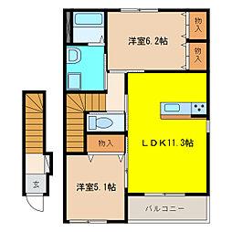 川島松倉町新築アパート[2階]の間取り