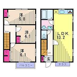[テラスハウス] 東京都葛飾区東水元2丁目 の賃貸【/】の間取り